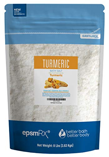 Turmeric Bath Salt 128 Ounces Epsom Salt with Turmeric, Cinnamon, Ylang Ylang, Orange and Grapefruit Essential Oils Plus Vitamin C and All Natural Ingredients BPA Free Pouch with Easy Press-Lock Seal