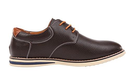 Serene Mens Sommar Mode Rund Tå Affärer Skor Tillfälliga Spets-up Läder Oxfords Brun
