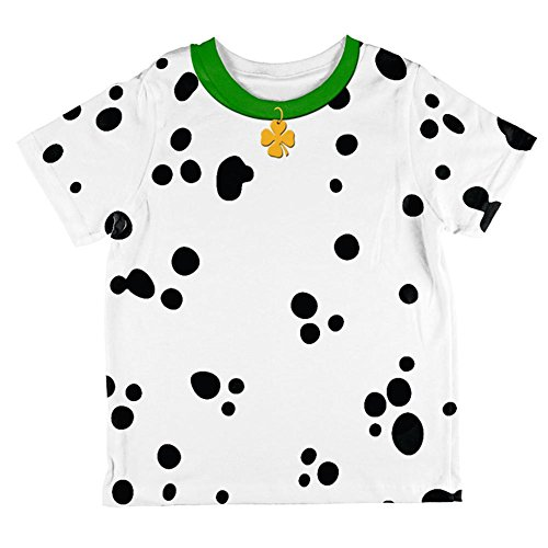 Dalmation Costumes 4t (St Patrick's Day Dog Dalmatian Costume Green Collar Shamrock All Over Toddler T Shirt Multi 4T)