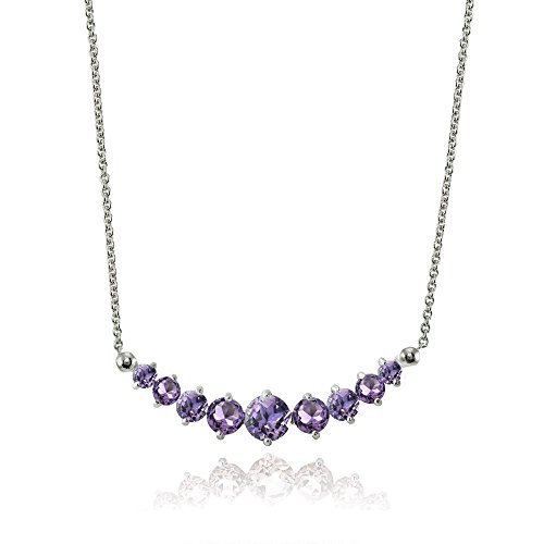 Lovve Sterling Silver Amethyst Graduated Journey Necklace with 18 Inch Chain