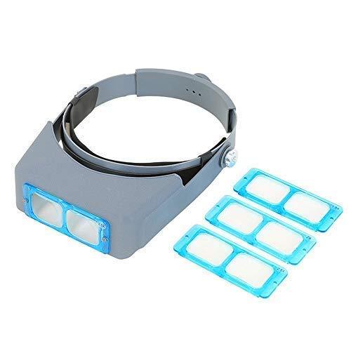 Lfhelper Headband Magnifier Hands Free Optical Visor/Binocular Magnifier Adjustable/Comfortable/Light 4 Lense Plates(1.5X, 2.0X, 2.5X, 3.5X) for Reading/Work/Hobby ()