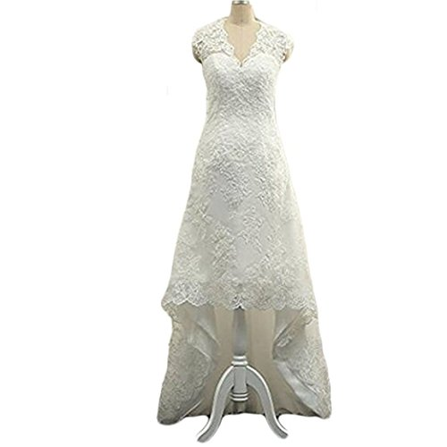 5915dc6117e Ainisha Women s High Low Country Style Wedding Dresses Lace Beaded Short  Bridal Gowns Sleeveless Garden Wedding Gown at Amazon Women s Clothing  store