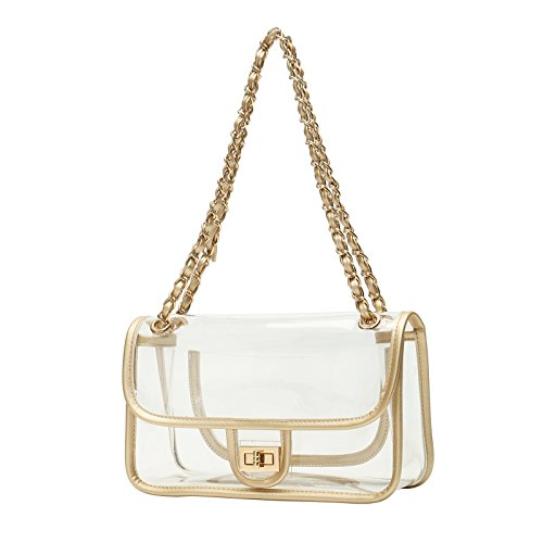 Lam Gallery Womens Clear Purse Handbags NFL Stadium Approved Clear Bags for Football Games Turn Lock Chain Shoulder Crossbody Bags Transparent PVC Vinyl Plastic Bag See Through Bag for Work Gold