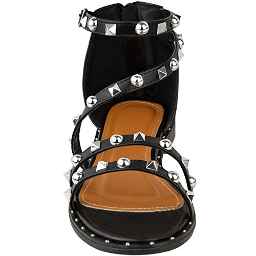 Fashion Thirsty heelberry Mujer Tacón Bajo con tachuelas Tobillo Tiras Vacaciones Verano Sandalias De Playa Talla Piel Sintética Negro