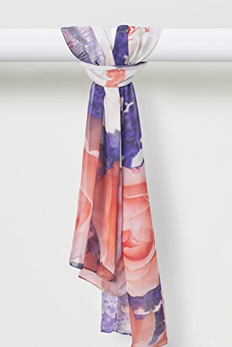Spring Rose Pure Smooth Silk Chiffon Scarf in Peach Purple and White by Louis Jane  (''Where Nature Meets Art''TM)