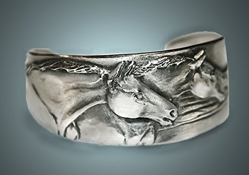 Horse Lady Gifts bracelet, Two sculptured horses, narrow cuff bracelet, silvery pewter, handmade USA