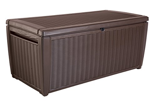 Keter Sumatra 135 gallon Outdoor Storage Rattan Deck Box, Brown