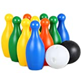 Bowling Set with Platisc Skittles and Balls Large Size Indoor Outdoor Garden Lawn Party Game Toy for Kids (10 Pins)