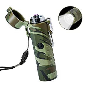 Electric Lighter USB Rechargeable, TRELC Waterproof Lighter with Flashlight Plasma Lighter, Windproof Arc Lighter Flameless for Outdoor Camping Hiking Home Emergency (Camouflage)