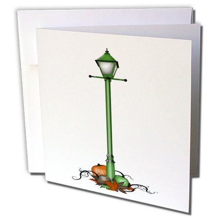 3dRose Anne Marie Baugh - Halloween - Cute Green Halloween Street Light With Pumpkins Illustration - 6 Greeting Cards with envelopes (gc_216959_1)