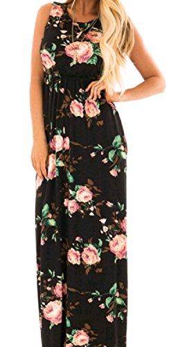 Women Sleeveless Pocket Pattern9 Beachwear Tunic Coolred Frill Maxi Print Dress Relaxed Long AdwxXqa