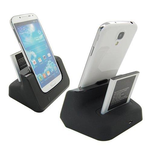 USB Sync Cargador estación carga muelle adaptador+cargador de batería para Samsung Galaxy S5 G900 i9600-Negro