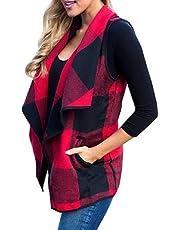 M_Eshop Women's Sleeveless Vest Color Block Lapel Open Front Plaid Cardigan Coat with Pockets