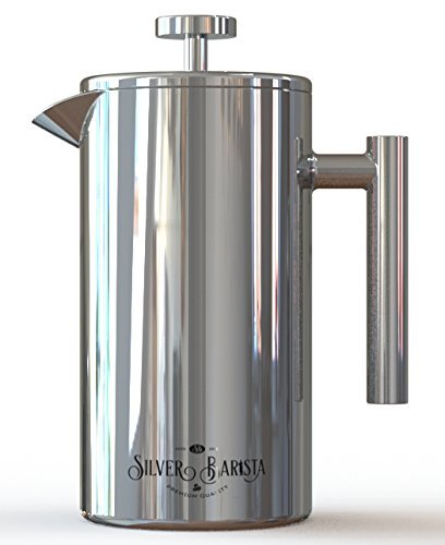 Cheap French Press Coffee Maker, 1 Liter, Easy Clean Stainless Steel, Double Walled, Happiness Guarantee