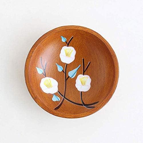 SHUUY 木製フルーツ皿、キャンディディッシュソリッドウッドラウンドハンドペイントフルーツプレートカフェ茶レストランの装飾ベスト