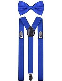 Mens Suspenders with Bow Tie Set Y Shape Elastic