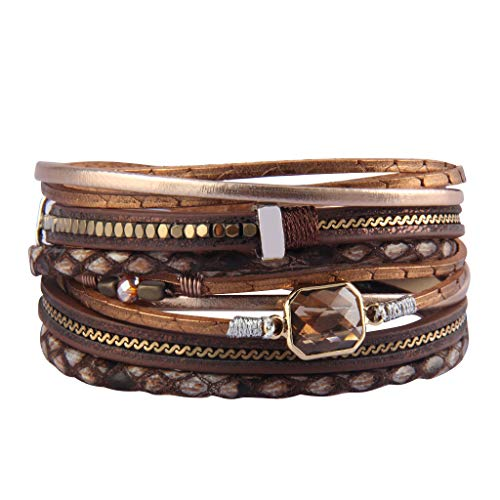 Jenia Multi Layer Leather Wrap Bracelet Crystal Cuff Bracelets Leopard Skin Boho Bracelet for Women, Girls, Mother, Wife, Ladies Gift ()