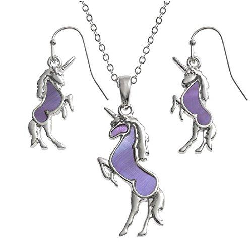 La Quirky Pagan, unicornio conjunto de joyas pendientes y collar a juego, en los 18pulgadas rodio plateado TRACE cadena, pescado gancho pendientes, hecho con madre de perla shell, hipoalergénico