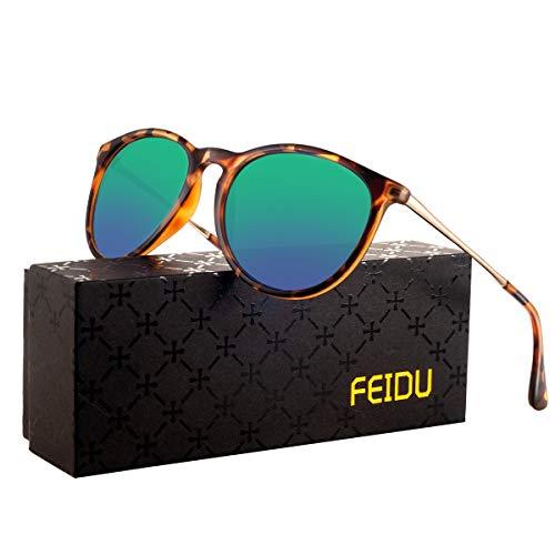 polarized sunglasses for women men - FEIDU retro womens sunglasses oversized style aviator sunglasses 4171 (Leopard green, 14.5)