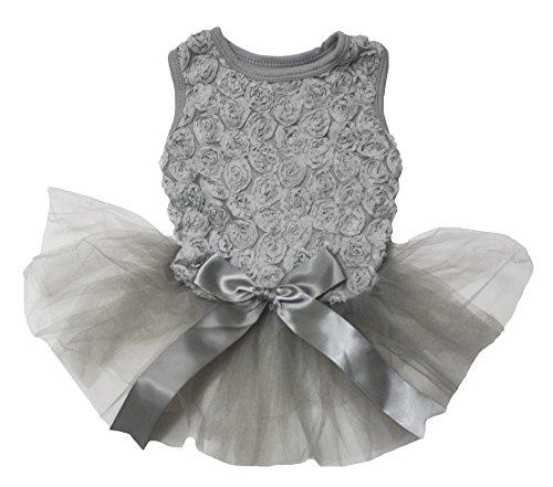 Pet Supply Valentine Wear Floral Top Grey Tutu with Satin Bow Dog Dress (Medium)