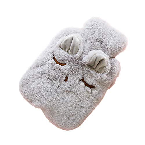 Hacoly Cute Cat Kitty Shape Premium Classic Rubber Hot Water Bottle with Soft Plush Cover Hot Water Bag Heat Up Portable Reusable Therapy Heating Pad-Style-2