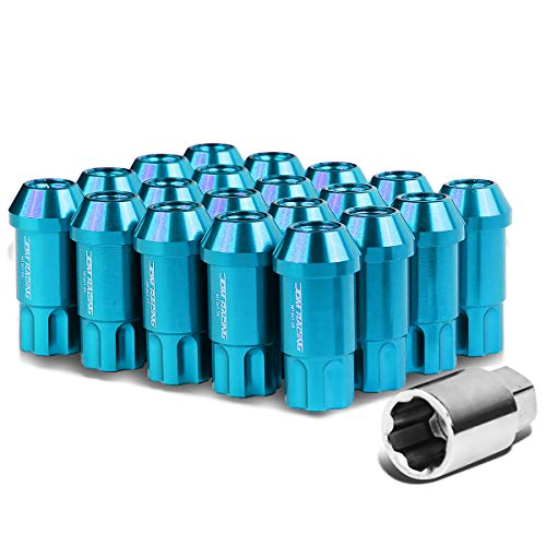 Alloy Wheel Nuts - M12 x 1.25 Open Ended Style 20-Piece Aluminum Alloy Wheel Lug Nuts +1 X Deep Drive Extension (Light Blue)