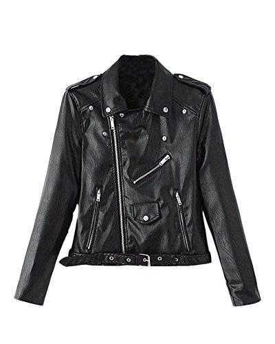 Zip Saideng Fit Noir Biker Cuir Slim Femme Veste Pu Moto En De YrYw1