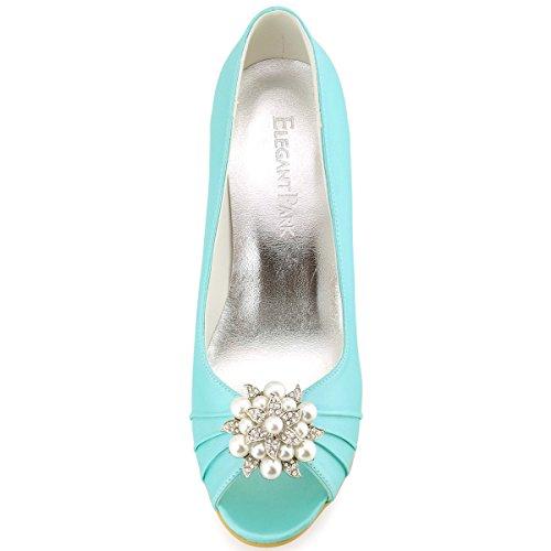 EP2009 Wedges Wedding Satin Mint High Evening Women Party Pleated Heel Shoes Toe Elegantpark Peep IqPdI