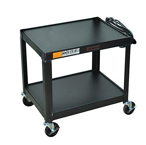 Luxor Multipurpose W26E 2 Shelves Fixed Height Steel A/V Cart - 26