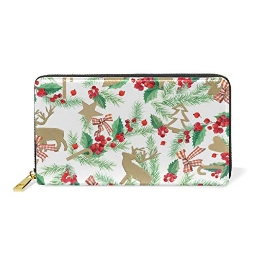 Zip And Watercolor Handbags Christmas Deer Womens Purses TIZORAX Clutch Wallet Around Organizer z0Awqxd