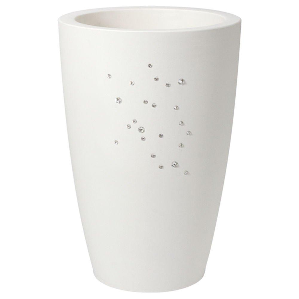hydroflora 63000100 Nicoli Pflanzsäule Talos Matt Diamond CS mit Swarovski-Kristallen, weiß, 33 x 33 x 70 cm