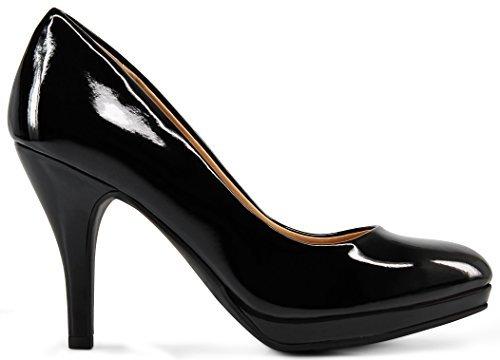 MARCOREPUBLIC Rome Memory Foam Cushion Womens Low Platform Heels Comfort Pumps - (Black Patent) - 9
