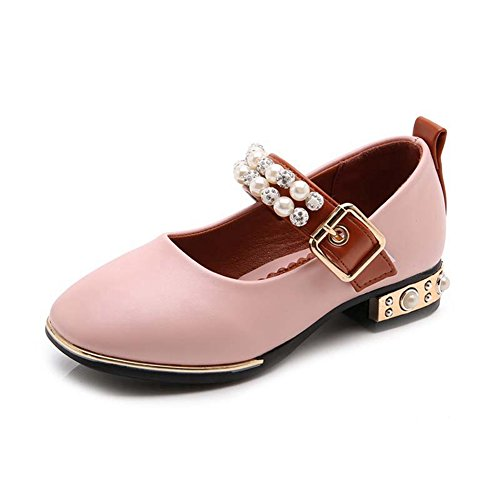 F-OXMY Girlds Low Heel Princess Dress Shoes Comfort Non-Slip Mary Jane Ballet Shoes (Toddler/Little Kid) Pink -
