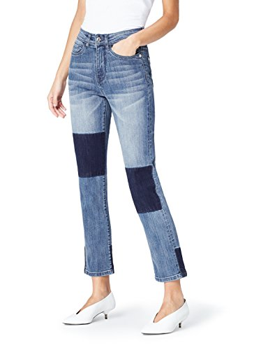 find. Women's Straight Leg High Rise Contrast Jeans, (Denim Blue), M (US 8)