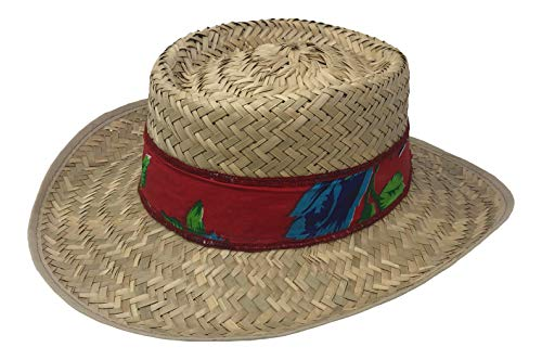Chapeau Tribe Women's Gambler Straw Hat with Red Floral - Gambler Red Straw Hat