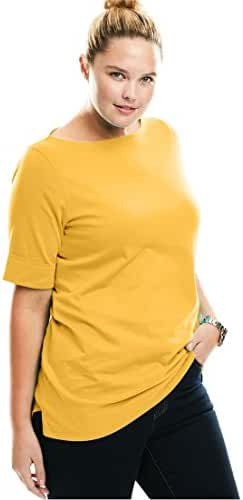 Women's Plus Size Perfect Boatneck Tee With Cuffed Elbow Length Sleeves