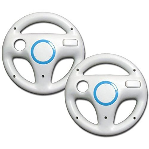 Wii Racing Game Steering Wheel (AMAZECO White Mario Kart Racing Wheel for Nintendo Wii Remote Games Pack of 2)