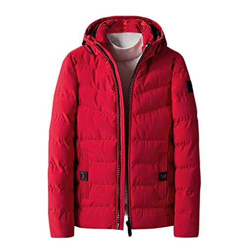 wuliLINL Men's Winter Thicken Cotton Jacket with Hood Warm Puffer Quilted Hooded Outwear Coats Windbreaker Parka Cotton-Padded Jacket(Red,US:6(Tag:L))