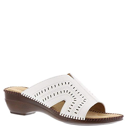 Auditions Womens Kelly Leather Open Toe Casual Slide Sandals, White, Size 8.0 from Auditions
