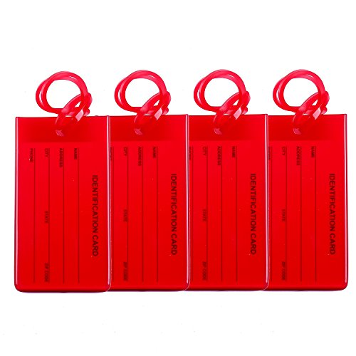 (4 Packs Colorful Flexible Travel Luggage Tags for Baggage Bags/Suitcases - Name ID Labels Set for Travel - Red)