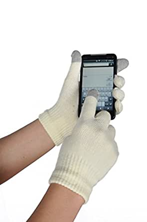 Womens texting glove for iPhone, iPad all touch screen devices, SolidOffWhite