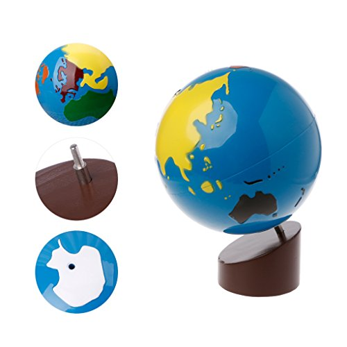 Cicitop World Part Globe Montessori Materials Geography Education Puzzle Map of The World, Montessori Toy Globes of The World with Stand for Toddlers Kids - Geography Montessori