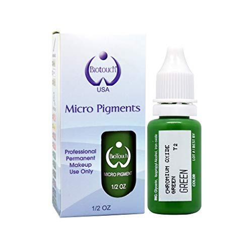 - BIOTOUCH Micropigment GREEN Pigment Color Permanent Makeup Microblading Supplies Eyebrow Shading Micropigmentation Cosmetic Tattoo Ink Lip Eyeliner Ombre Feathering Hair Stroke LARGE Bottle 15ml