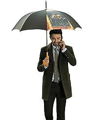 VILLASON Oli Painting Series Anti-UV Windproof & Waterproof Auto Open Golf Umbrella With Wooden Handle, Windproof...