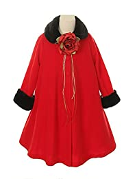 Cozy Fleece Long Sleeve Cape Jacket Coat - Red Girl 8