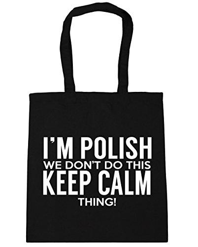 HippoWarehouse I 'm polaca que no hacer esto lo Keep Calm bolsa de la compra bolsa de playa 42cm x38cm, 10litros negro