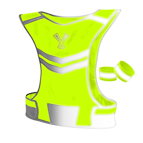 247 Viz Reflective Vest with 2 Visibility Safety Bands, Large / Extra Large - Neon Yellow