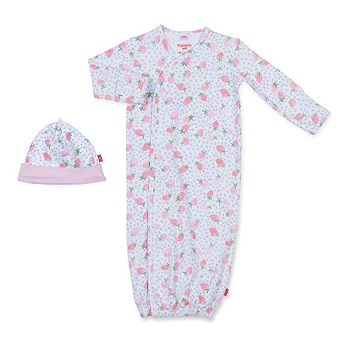 Magnetic Me by Magnificent Baby 100% Organic Cotton Sack Gown & Hat Set, Newborn to 3 Months