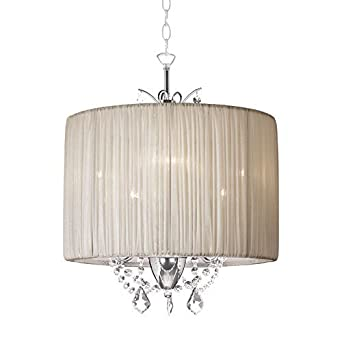Crystal mini pendant light in oyster pleated fabric cylinder drum crystal mini pendant light in oyster pleated fabric cylinder drum shadehome ceiling light fixture aloadofball Gallery