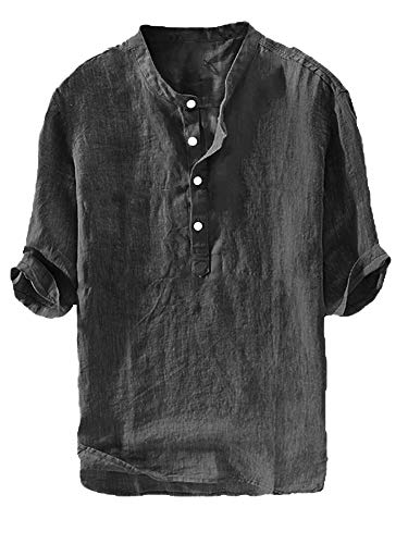Gtealife Mens Linen Henley Shirt Casual 3/4 Sleeve T Shirt Pullover Tees V Neck Curved Hem Cotton Shirts Beach Tops (Large, C-Black)